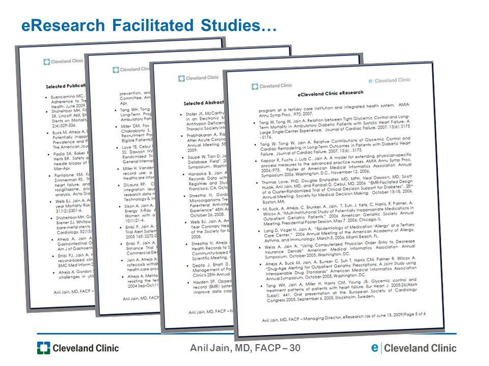eResearch Facilitated Studies…