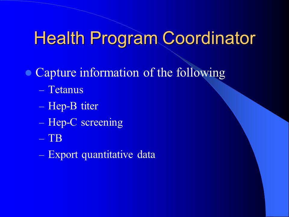 Health Program Coordinator