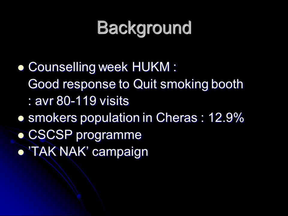 Background Counselling week HUKM : Good response to Quit smoking booth