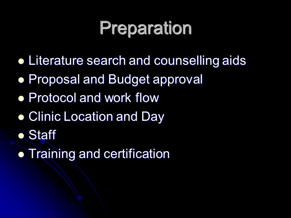 Preparation Literature search and counselling aids