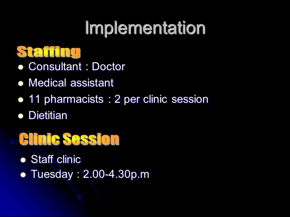 Implementation Staffing Clinic Session Consultant : Doctor