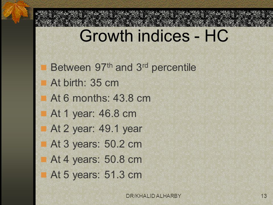 Growth indices - HC Between 97th and 3rd percentile At birth: 35 cm