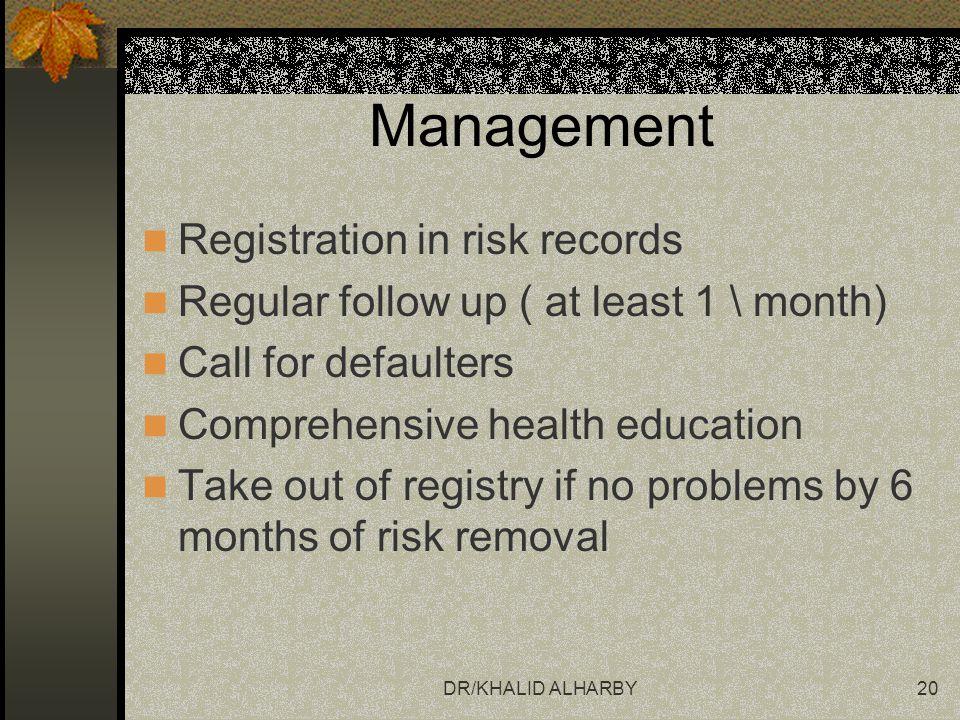 Management Registration in risk records