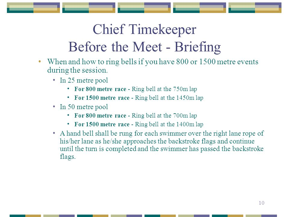 Chief Timekeeper Before the Meet - Briefing