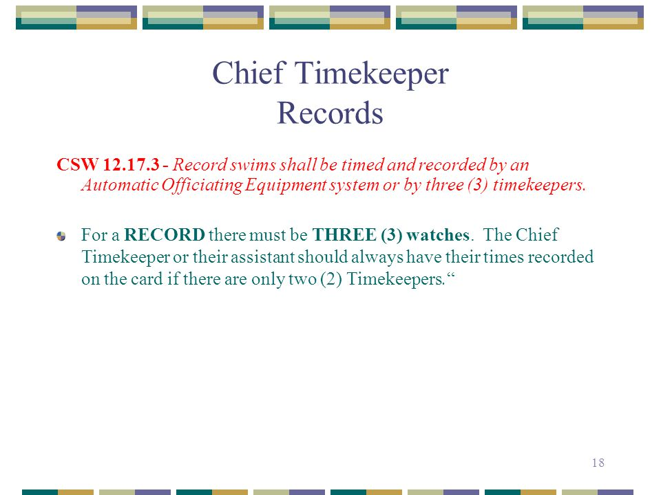 Chief Timekeeper Records
