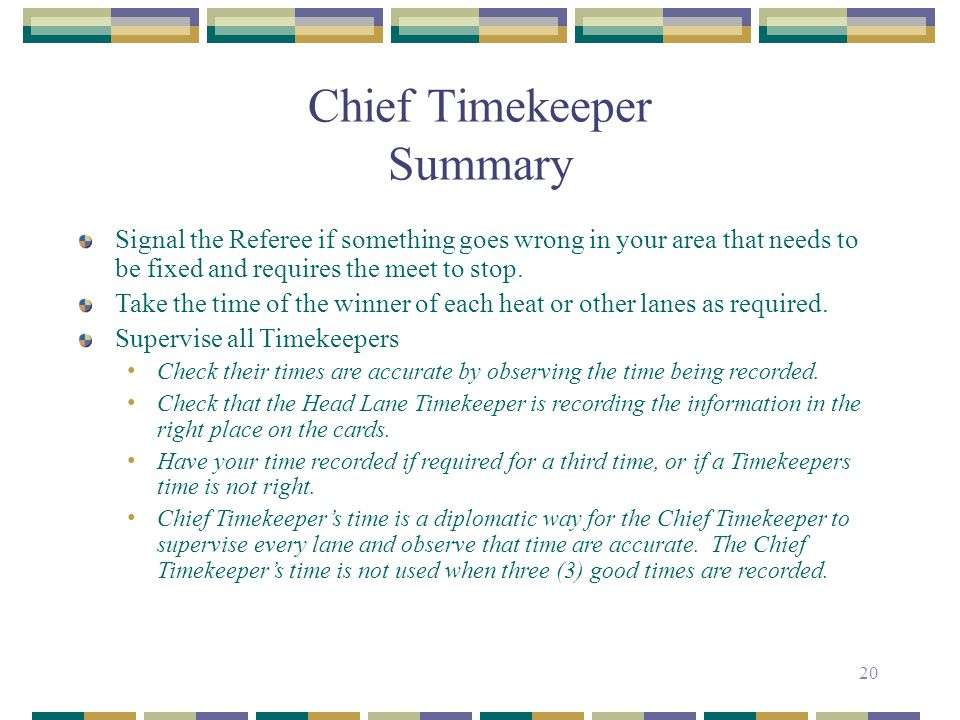 Chief Timekeeper Summary