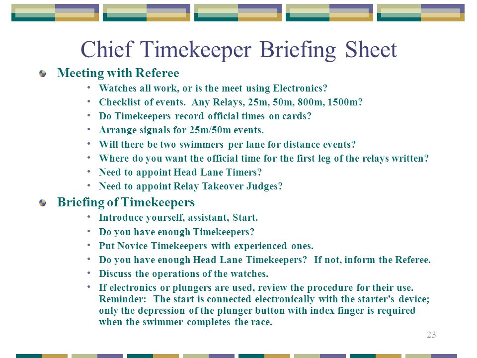 Chief Timekeeper Briefing Sheet