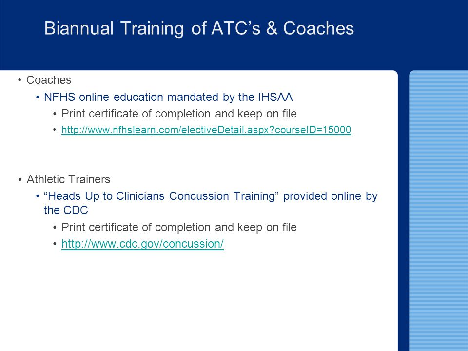 Biannual Training of ATC's & Coaches