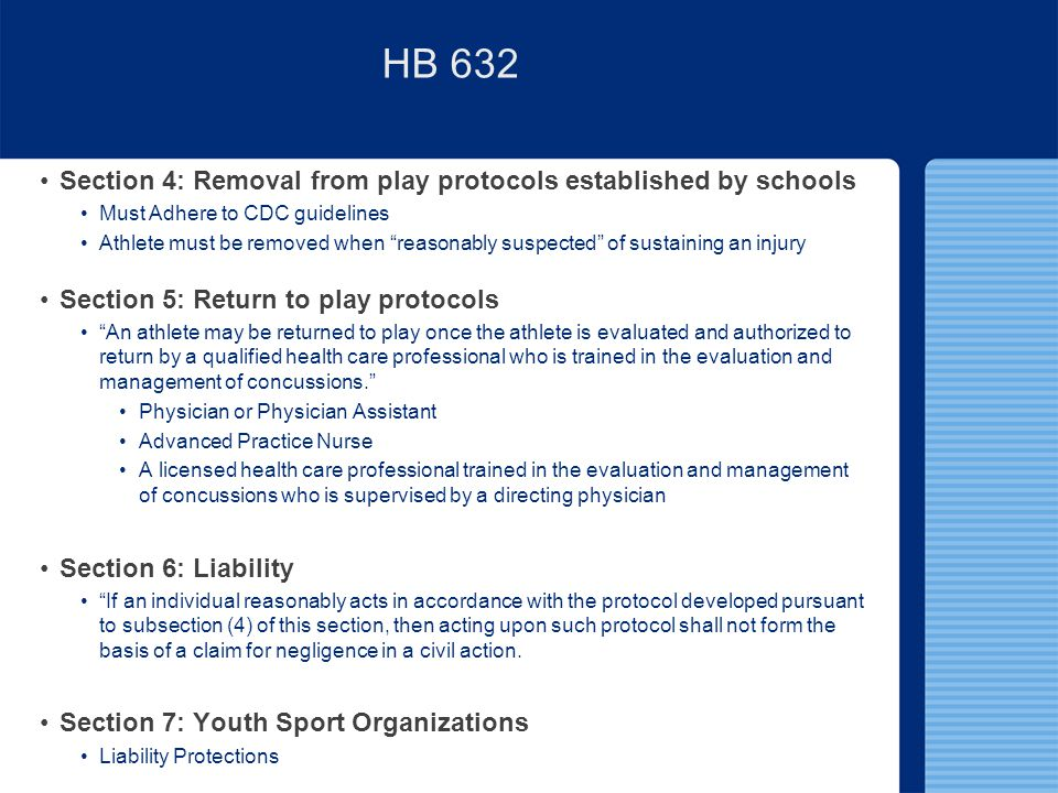 HB 632 Section 4: Removal from play protocols established by schools