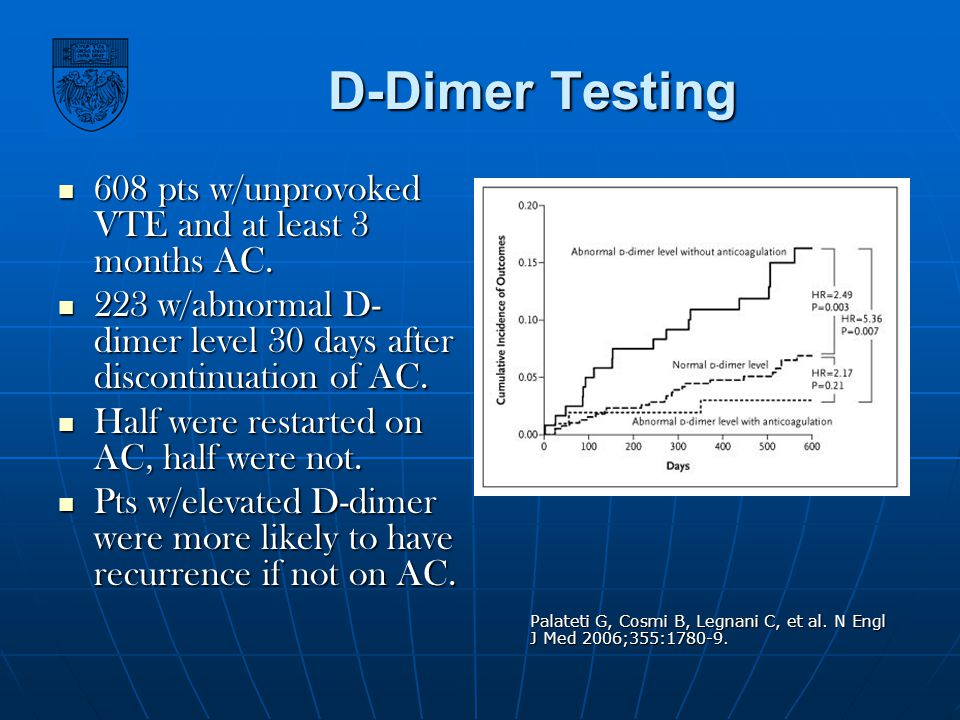 D-Dimer Testing 608 pts w/unprovoked VTE and at least 3 months AC.