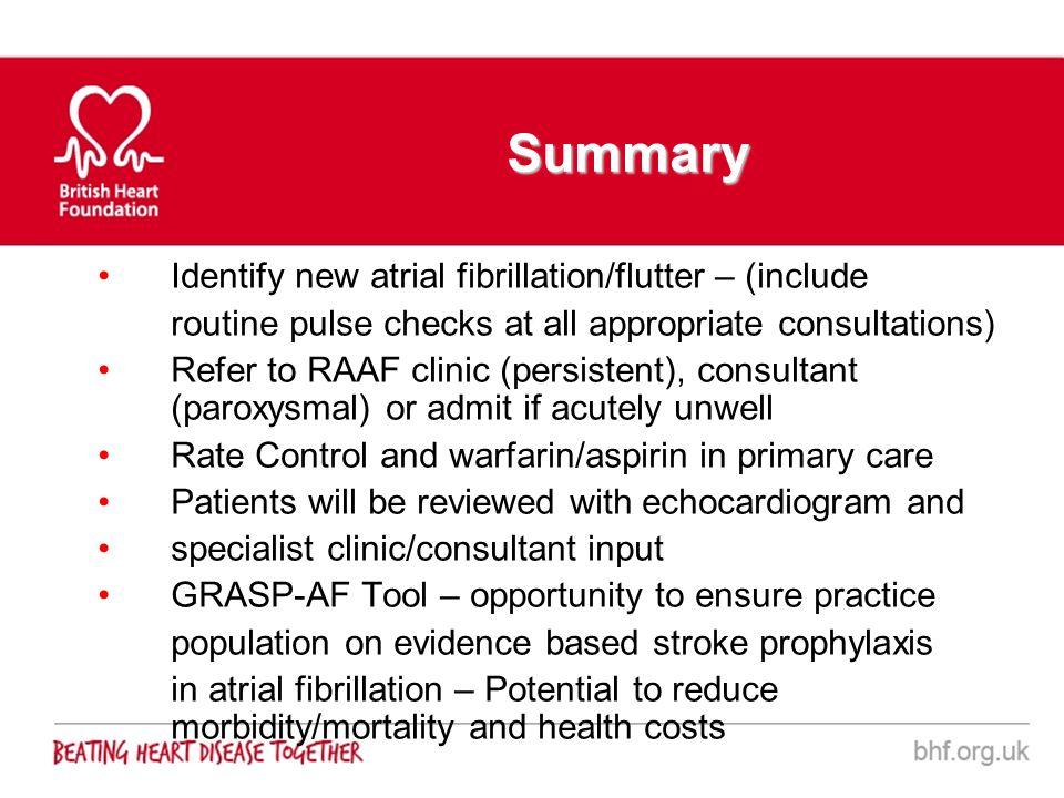 Summary Identify new atrial fibrillation/flutter – (include