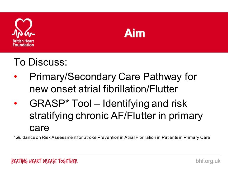 Aim To Discuss: Primary/Secondary Care Pathway for new onset atrial fibrillation/Flutter.