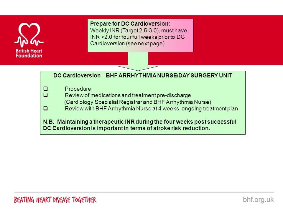 DC Cardioversion – BHF ARRHYTHMIA NURSE/DAY SURGERY UNIT