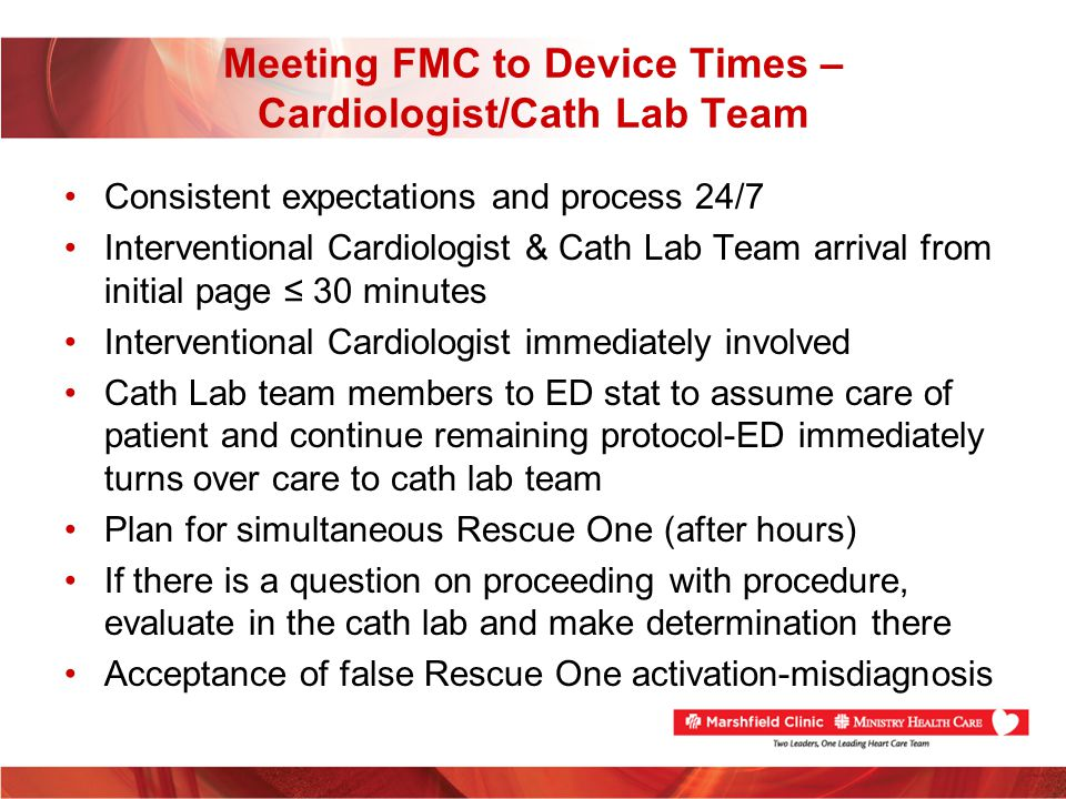 Meeting FMC to Device Times – Cardiologist/Cath Lab Team
