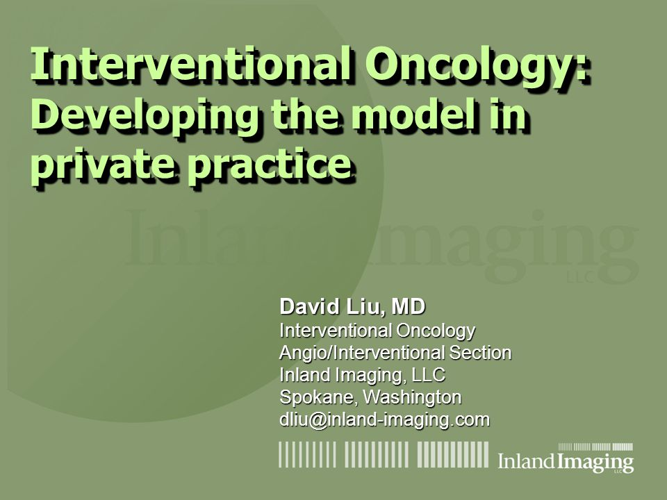 Interventional Oncology: Developing the model in private practice