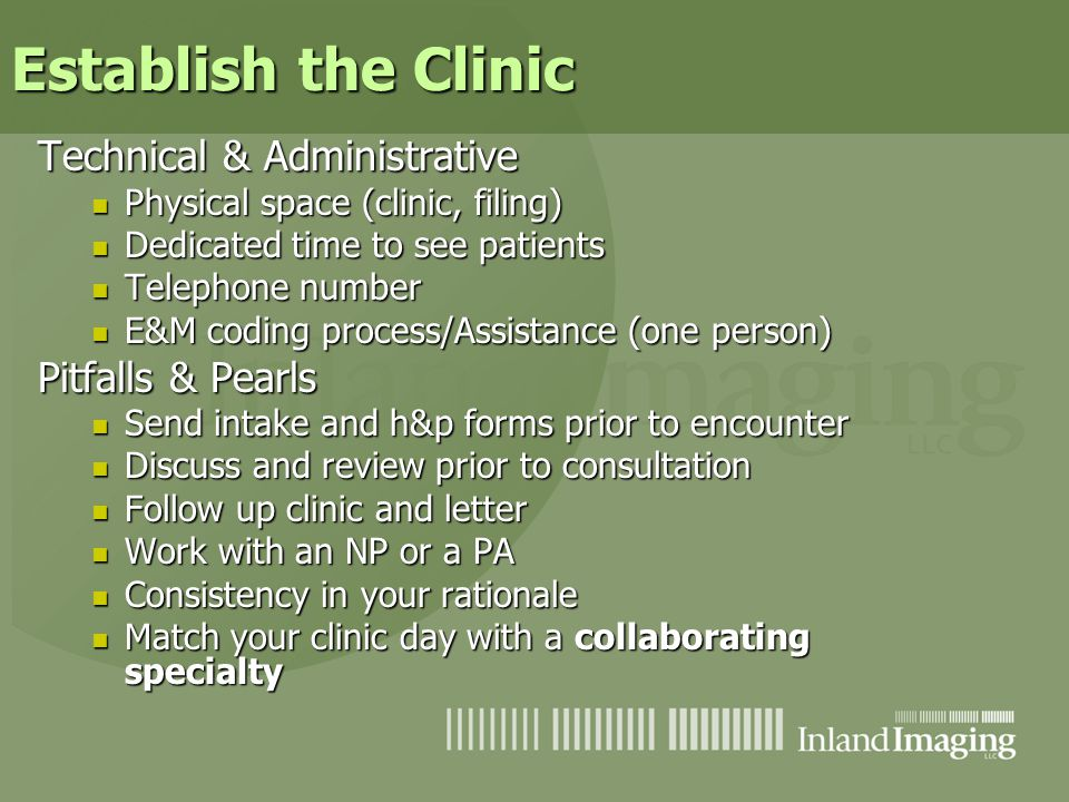 Establish the Clinic Technical & Administrative Pitfalls & Pearls