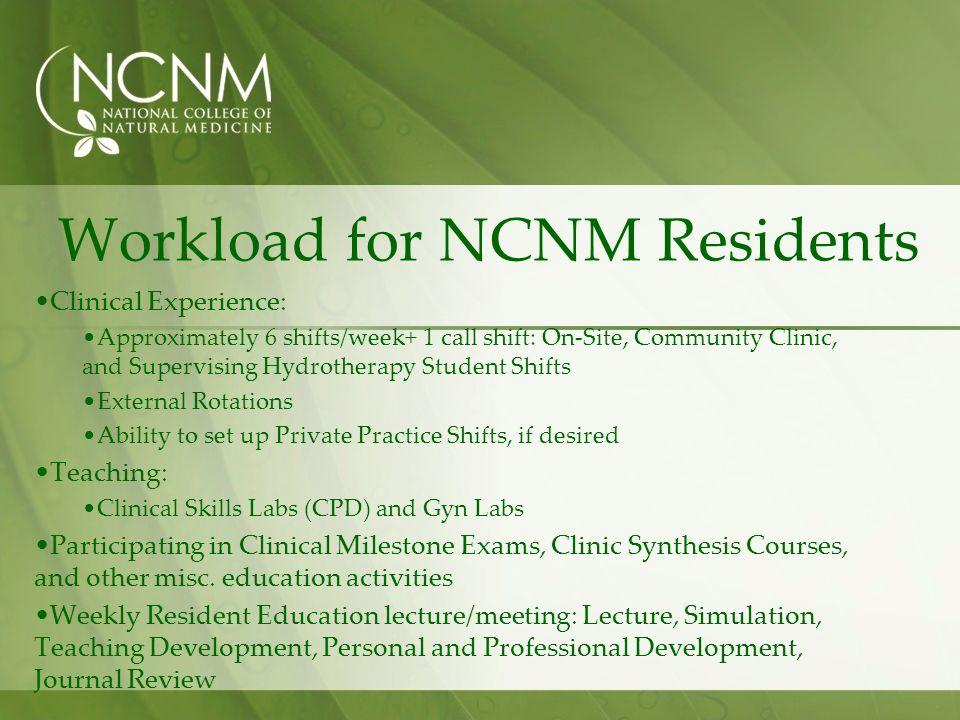 Workload for NCNM Residents