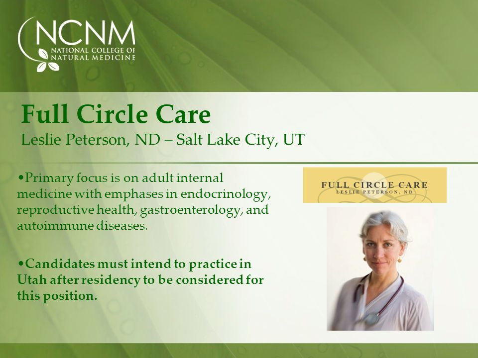 Full Circle Care Leslie Peterson, ND – Salt Lake City, UT
