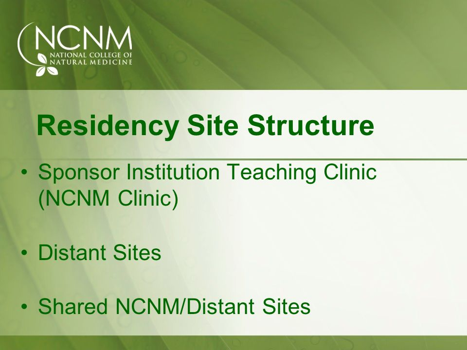 Residency Site Structure