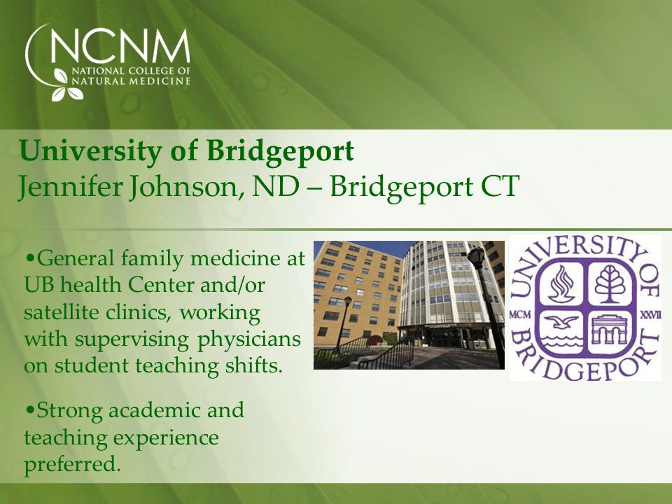 University of Bridgeport Jennifer Johnson, ND – Bridgeport CT
