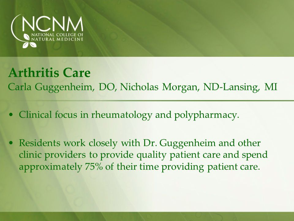 Arthritis Care Carla Guggenheim, DO, Nicholas Morgan, ND-Lansing, MI