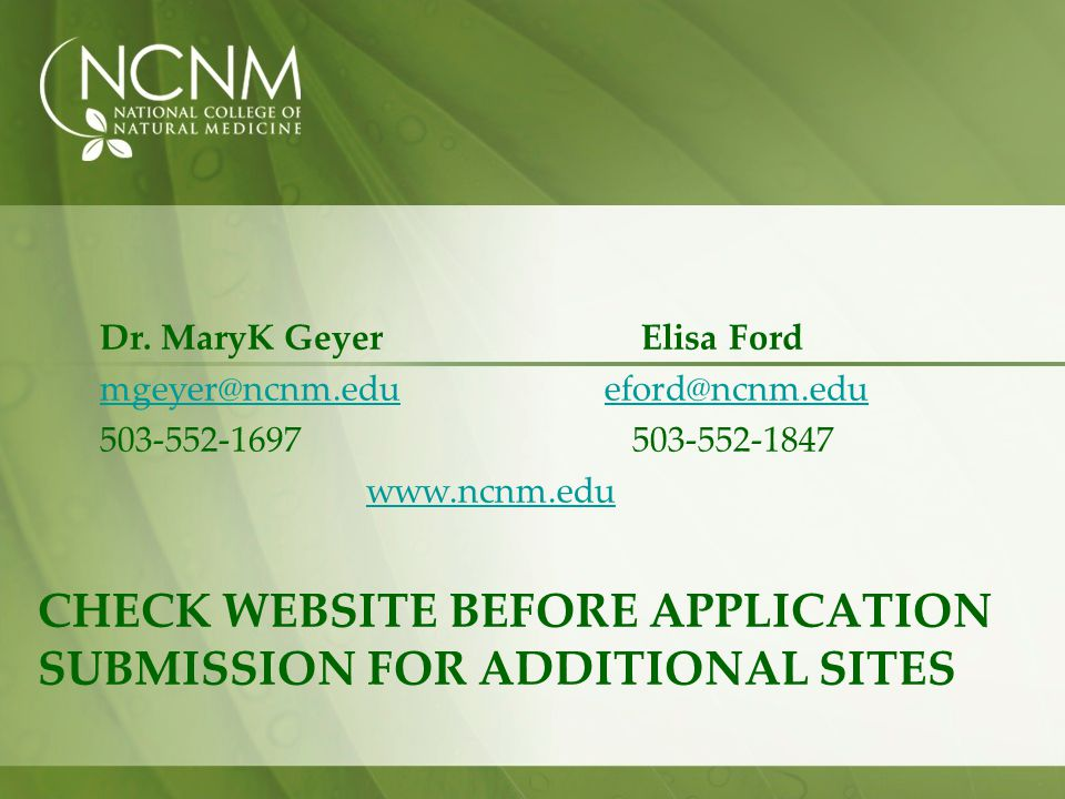 check Website before Application submission for additional sites
