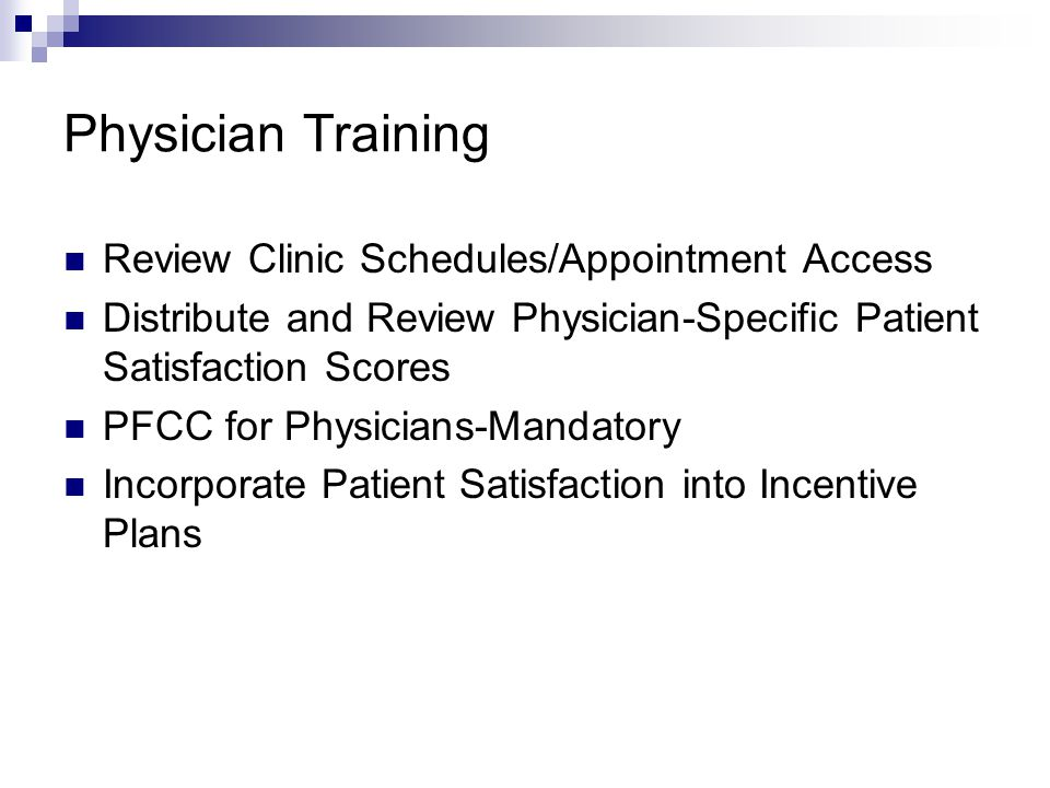 Physician Training Review Clinic Schedules/Appointment Access