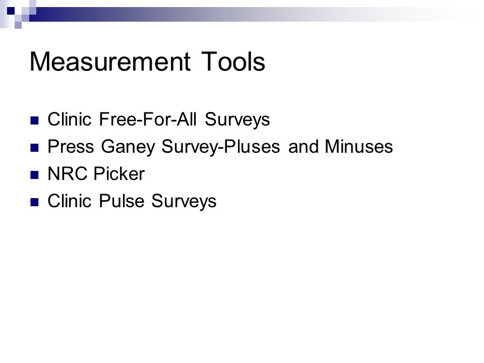 Measurement Tools Clinic Free-For-All Surveys