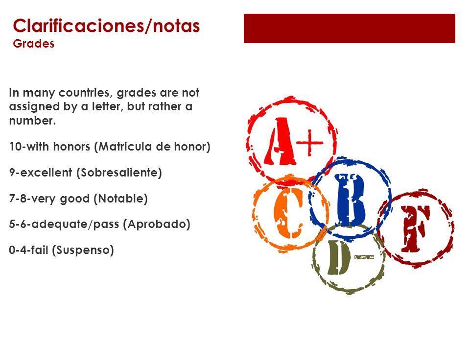 Clarificaciones/notas Grades