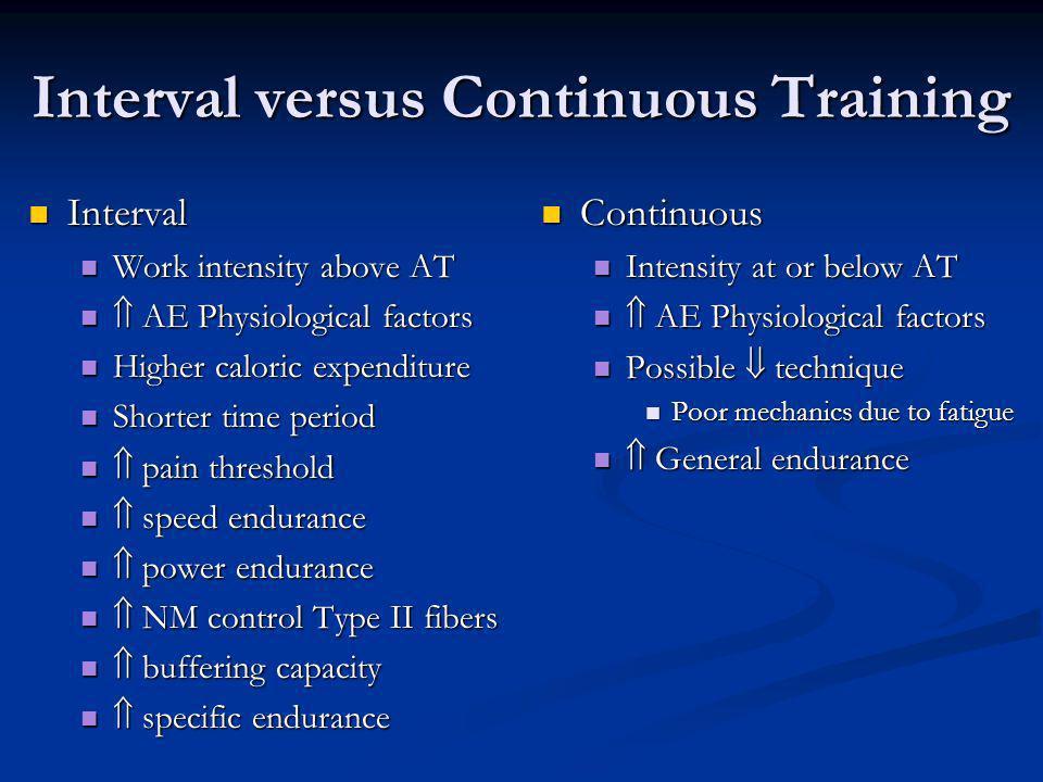 Interval versus Continuous Training