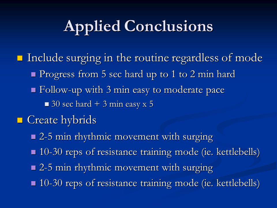 Applied Conclusions Include surging in the routine regardless of mode