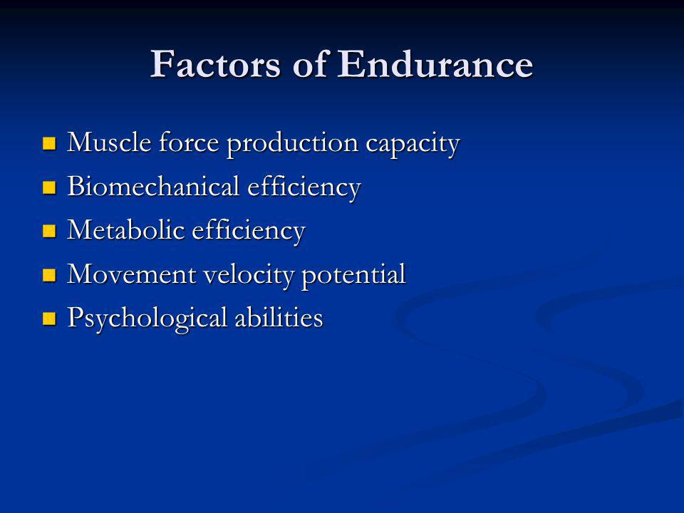 Factors of Endurance Muscle force production capacity