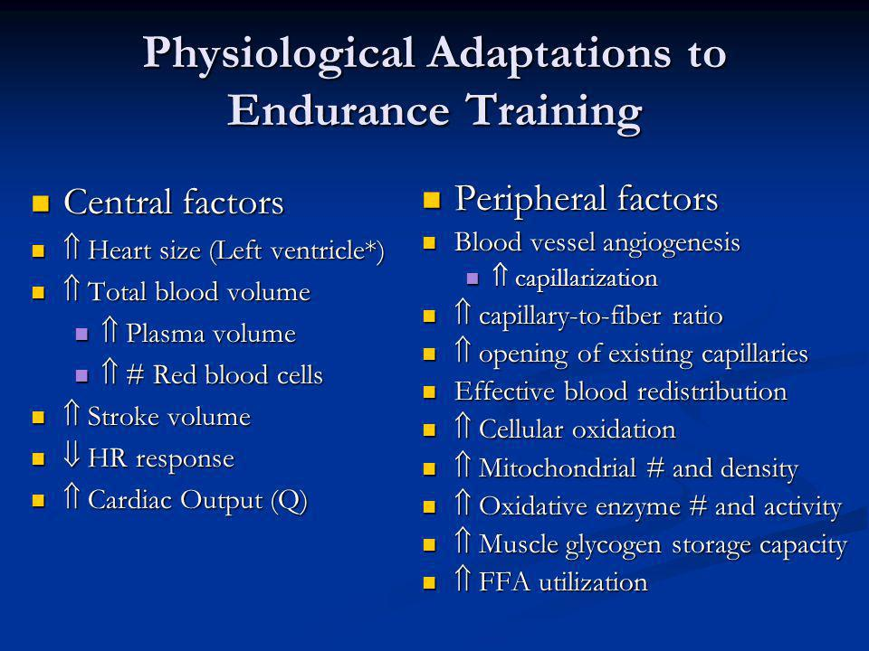 Physiological Adaptations to Endurance Training