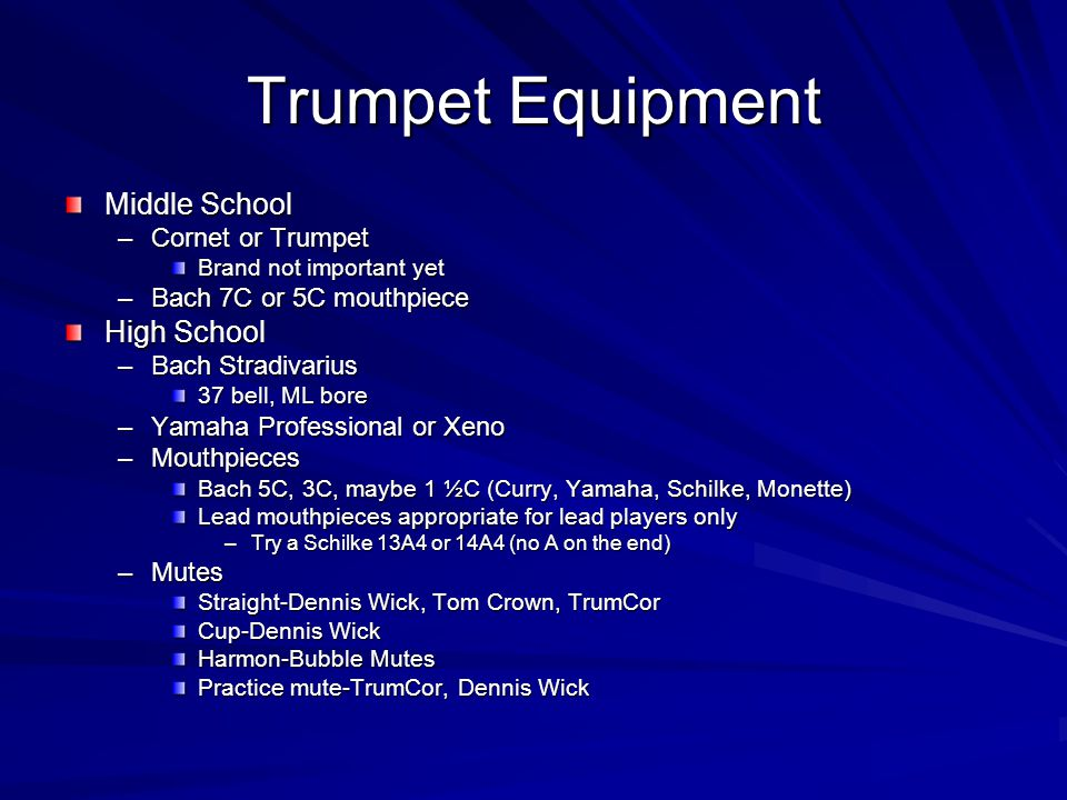 Trumpet Equipment Middle School High School Cornet or Trumpet