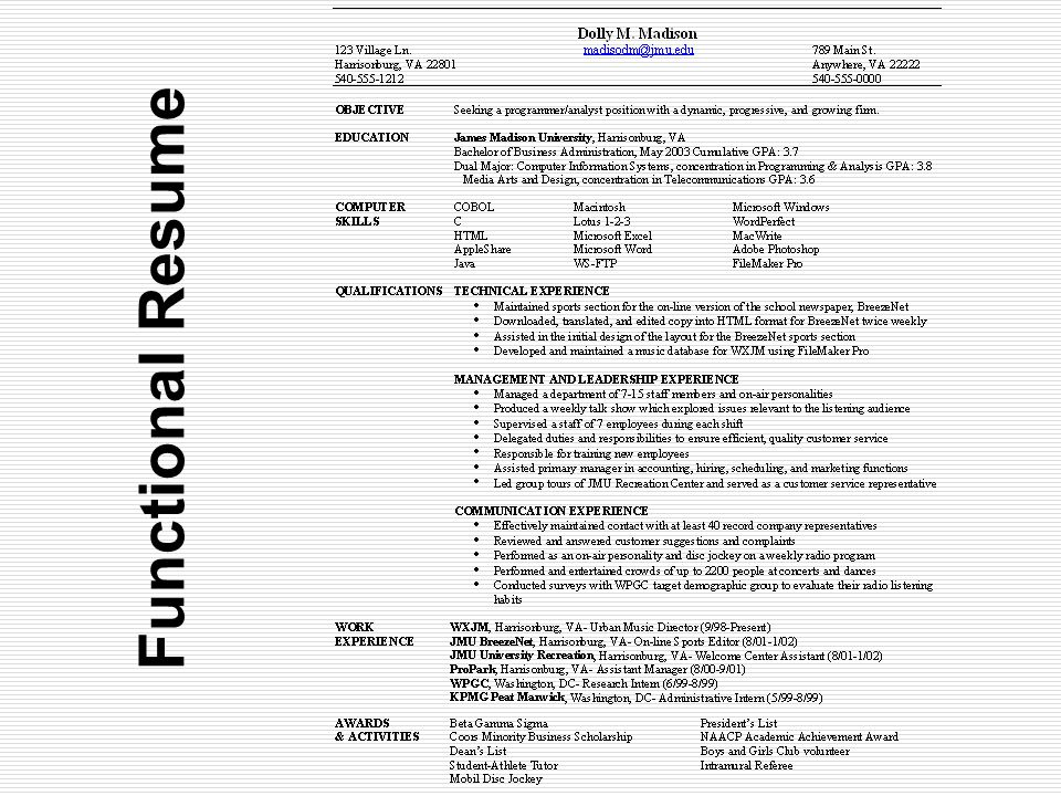 19 Functional Resume  Beta Gamma Sigma Resume