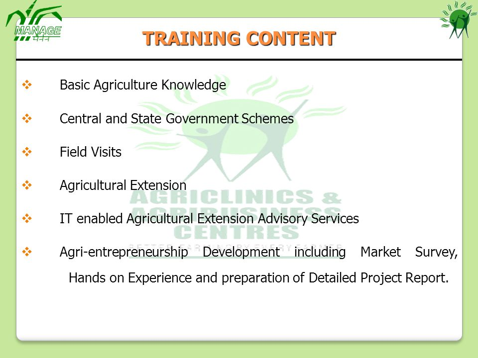 TRAINING CONTENT Basic Agriculture Knowledge
