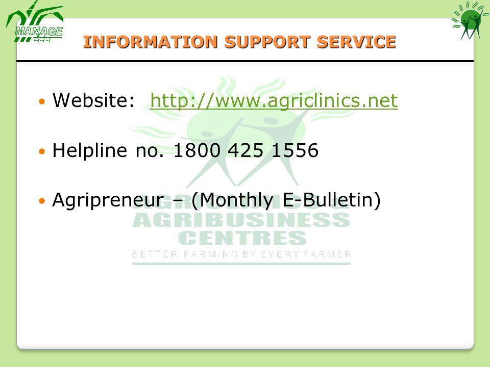 Website: http://www.agriclinics.net Helpline no. 1800 425 1556