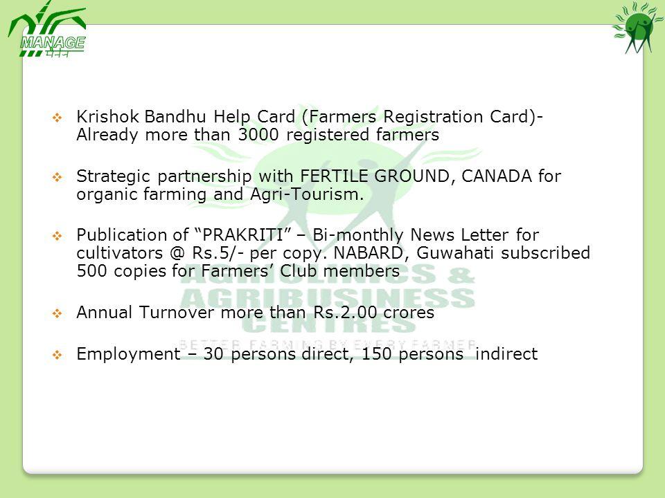 Krishok Bandhu Help Card (Farmers Registration Card)- Already more than 3000 registered farmers