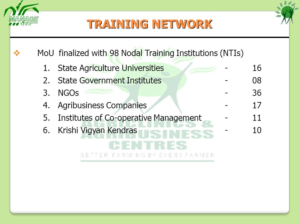 TRAINING NETWORK MoU finalized with 98 Nodal Training Institutions (NTIs) State Agriculture Universities - 16.