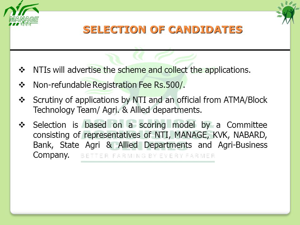 SELECTION OF CANDIDATES