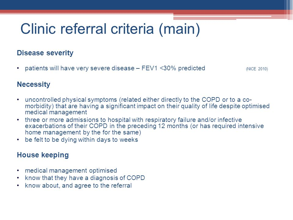 Clinic referral criteria (main)