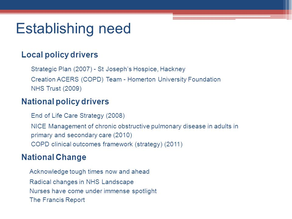 Establishing need Local policy drivers National policy drivers