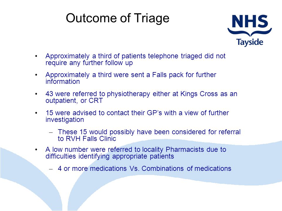 Outcome of Triage Approximately a third of patients telephone triaged did not require any further follow up.