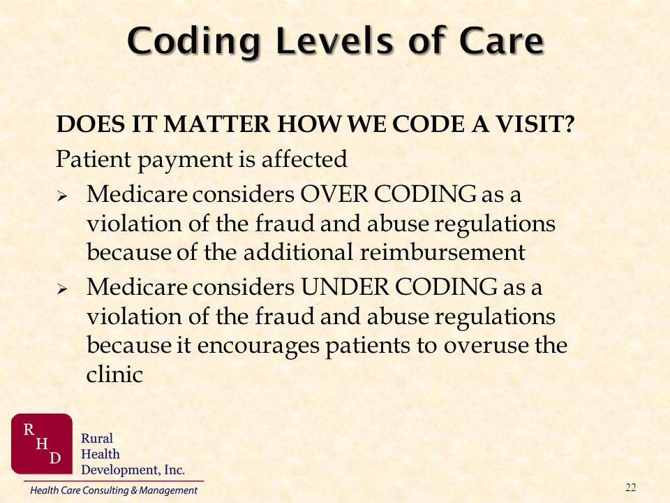 Coding Levels of Care DOES IT MATTER HOW WE CODE A VISIT