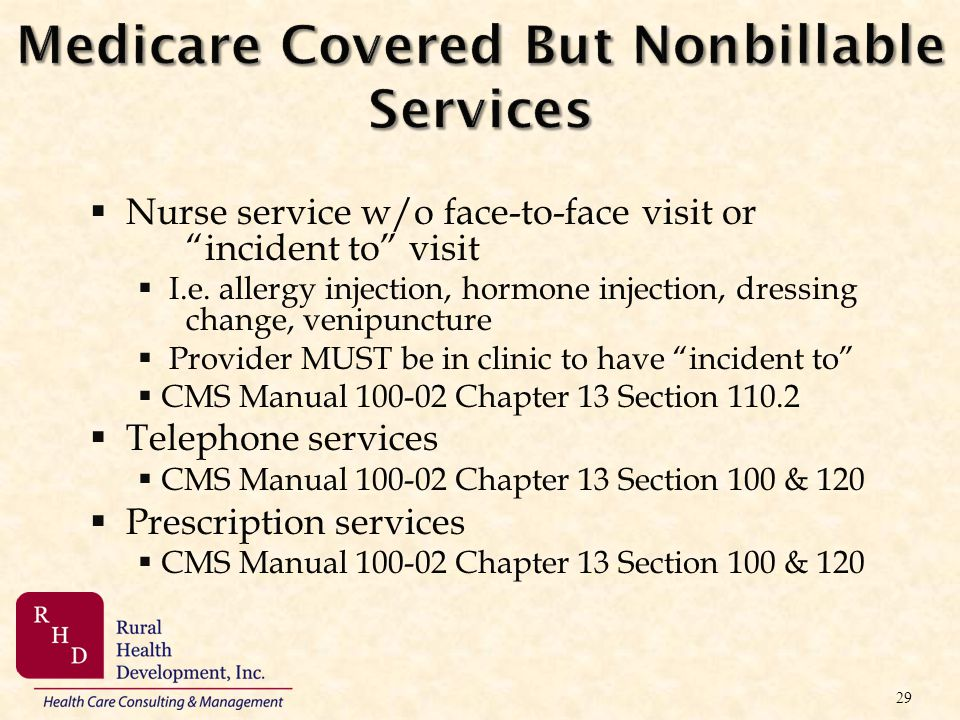 Medicare Covered But Nonbillable Services
