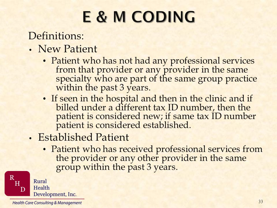 E & M Coding Definitions: New Patient Established Patient