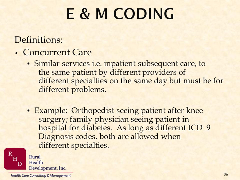 E & M Coding Definitions: Concurrent Care