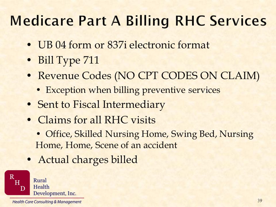 Medicare Part A Billing RHC Services