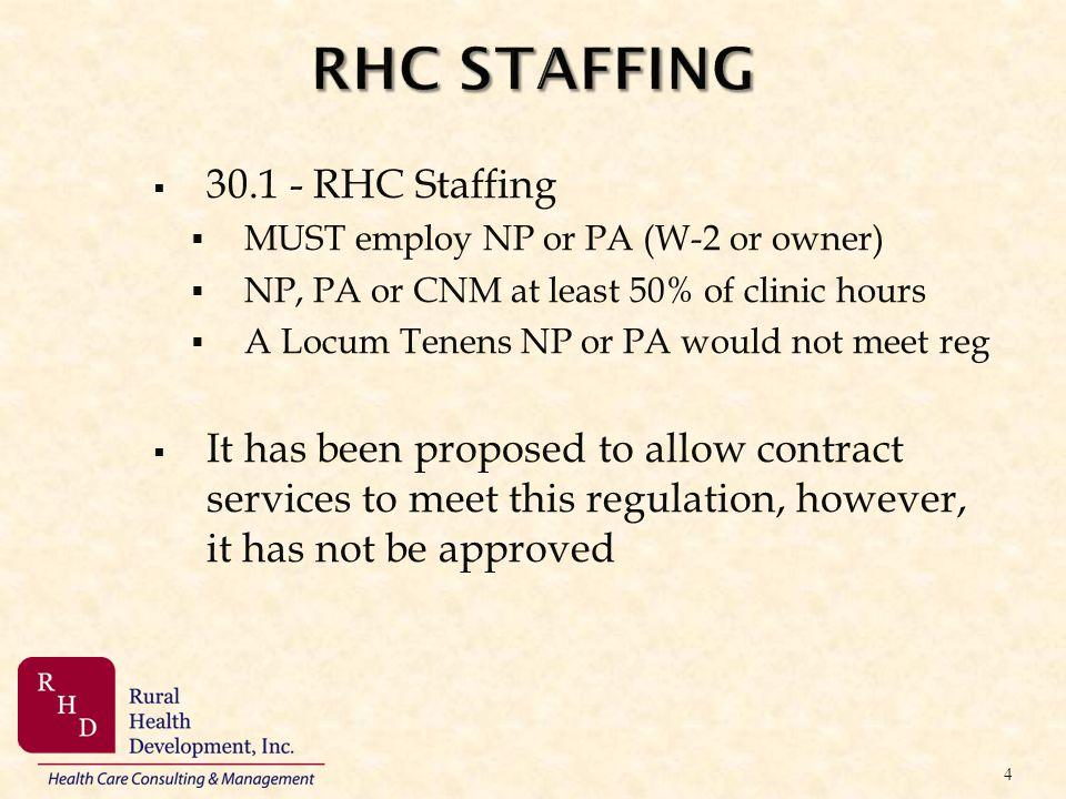 RHC STAFFING 30.1 - RHC Staffing