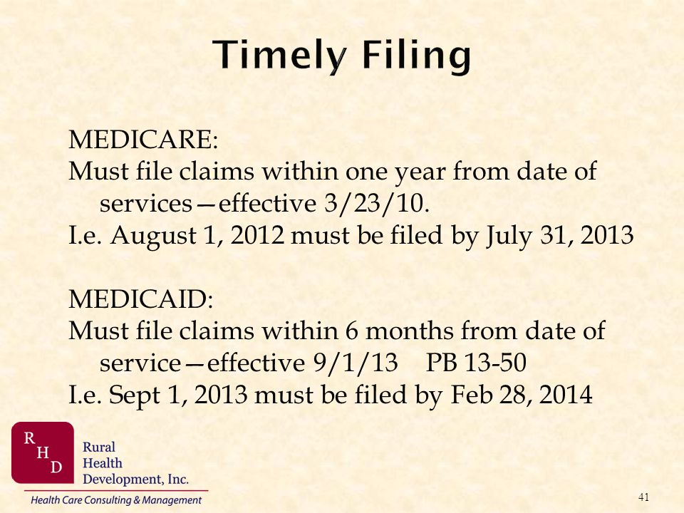 Timely Filing MEDICARE: